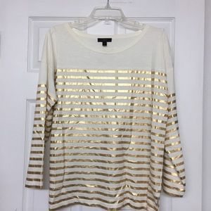 J Crew long sleeve t-shirt gold stripes holiday